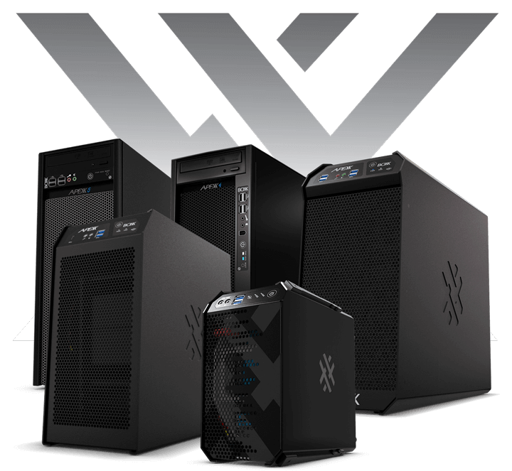 Boxx piled up multitude of unique laptop and desktop in black with boxx logo